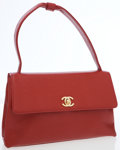 Luxury Accessories:Bags, Chanel Red Caviar Small Shoulder Bag with Gold Hardware. ...
