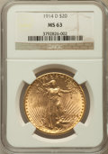 Saint-Gaudens Double Eagles: , 1914-D $20 MS63 NGC. NGC Census: (1971/2495). PCGS Population(1829/3308). Mintage: 453,000. Numismedia Wsl. Price for prob...