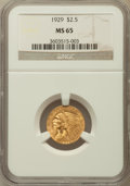 Indian Quarter Eagles: , 1929 $2 1/2 MS65 NGC. NGC Census: (216/3). PCGS Population (124/3).Mintage: 532,000. Numismedia Wsl. Price for problem fre...