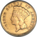 Three Dollar Gold Pieces, 1854-D $3 -- Mount Removed, Damaged, Polished -- ANACS. VF20Details....