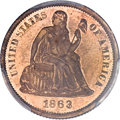 Patterns, 1863 10C Ten Cents, Judd-333, Pollock-405, R.7, PR63 Red and Brown PCGS. CAC....