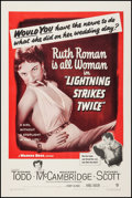 """Movie Posters:Mystery, Lightning Strikes Twice (Warner Brothers, 1951). One Sheet (27"""" X41""""). Mystery.. ..."""