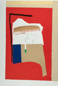 Fine Art - Work on Paper:Print, ROBERT MOTHERWELL (American, 1915-1991). America la-France(variation I), 1984. Lithograph in colors with collage.46-1/...