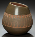 American Indian Art:Pottery, A SAN ILDEFONSO GREEN AND BUFFWARE JAR. Russell Sanchez. c. 1985...