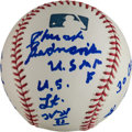 Autographs:Baseballs, Chuck Bednarik Single Signed Baseball With Military Content. ...