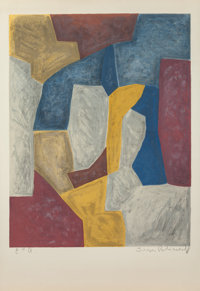 SERGE POLIAKOFF (Russian, 1906-1969) Composition carmin, jaune, grise et bleue, 1959 Lithograph in c
