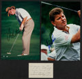 Autographs:Photos, Golf Legends Signed Photographs And Cuts Lot Of 3. ...