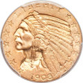 Indian Half Eagles, 1908 $5 MS64+ PCGS. CAC....