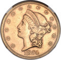 Liberty Double Eagles, 1854 $20 Small Date AU55 NGC. CAC....