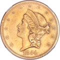 Liberty Double Eagles, 1854 $20 Small Date -- Improperly Cleaned -- NGC Details. AU.Breen-7167....
