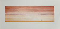 ED RUSCHA (American, b. 1937) Man Walking Away From It All, 1980 Etching in colors 10-1/4 x 31-5/