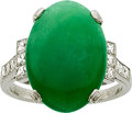 Estate Jewelry:Rings, Art Deco Jadeite Jade, Diamond, Platinum Ring, Kohn. ...