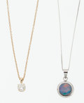 Estate Jewelry:Pendants and Lockets, Opal Doublet, Diamond, Gold Necklaces. ... (Total: 2 Items)
