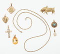 Estate Jewelry:Pendants and Lockets, Multi-Stone Gold Pendants. ... (Total: 7 Items)