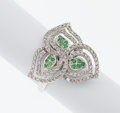 Estate Jewelry:Rings, Diamond, Green Stone, White Gold Ring. ...