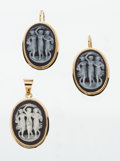 Estate Jewelry:Suites, Porcelain Cameo, Gold Jewelry Suite. ... (Total: 3 Items)