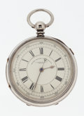 Timepieces:Pocket (pre 1900) , Swiss Sterling Chronograph Pocket Watch. ...