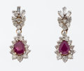 Estate Jewelry:Earrings, Diamond, Ruby, Gold Earrings. ...