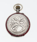 Timepieces:Pocket (pre 1900) , Swiss Sterling & Red Enamel Pocket Watch. ...