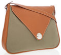 Luxury Accessories:Bags, Hermes Gold Epsom Leather & Vert Olive Canvas Christine Messenger Bag. ...