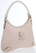 Luxury Accessories:Bags, Gucci Pink Classic Monogram Canvas & White Leather ShoulderBag. ...