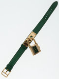 Luxury Accessories:Accessories, Hermes Vert Clair Epsom Leather Kelly Watch with Gold Hardware. ...