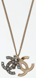 Luxury Accessories:Accessories, Chanel White Crystal & Gold Metal CC Necklace. ...