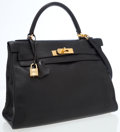 Luxury Accessories:Bags, Hermes 32cm Black Swift Leather Retourne Kelly Bag with Gold Hardware. ...