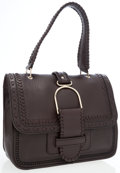 Luxury Accessories:Bags, Jimmy Choo Dark Brown Leather Shoulder Bag with Embroidered Detail....