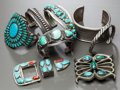 Other, EIGHT SOUTHWEST SILVER JEWELRY ITEMS. c. 1940 - 70... (Total: 8 )