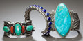 Other, THREE NAVAJO SILVER AND STONE BRACELETS. c. 1970 - 2000... (Total: 3 )