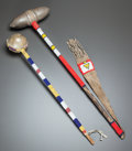 American Indian Art:Pipes, Tools, and Weapons, TWO PLAINS BEADED STONEHEAD CLUBS. c. 1890 and 1940... (Total: 2Items)