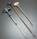 American Indian Art:Pipes, Tools, and Weapons, THREE PLAINS CEREMONIAL CLUBS. c. 1885... (Total: 3 Items)