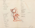 "Animation Art:Production Drawing, Fantasia ""The Sorcerer's Apprentice"" Mickey Mouse RoughDrawing by Grim Natwick (Walt Disney, 1940)...."