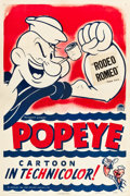 "Movie Posters:Animation, Popeye (Paramount, 1943). Stock One Sheet (27"" X 41""). ""RodeoRomeo."". ..."