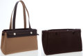 Luxury Accessories:Bags, Hermes Havane Vache Leather & Brown Canvas Herbag Cabas PMShoulder Bag. ...