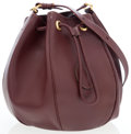 Luxury Accessories:Bags, Cartier Burgundy Leather Drawstring Shoulder Bag. ...