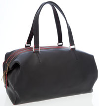 Celine Black Leather Large Bowling Bag with Red Piping