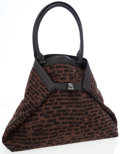 Luxury Accessories:Bags, Akris Brown Wool & Black Leather Al Double-Face Tote Bag withBrushed Gunmetal Hardware. ...