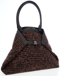 Akris Brown Wool & Black Leather Al Double-Face Tote Bag with Brushed Gunmetal Hardware