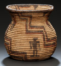 American Indian Art:Baskets, AN APACHE PICTORIAL POLYCHROME COILED JAR. c. 1900...