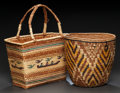 American Indian Art:Baskets, TWO NORTHWEST COAST POLYCHROME BASKETRY ITEMS. c. 1900 and 1975...(Total: 2 Items)