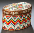 American Indian Art:Baskets, A MICMAC QUILLED TRINKET BASKET. c. 1900...