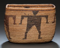 American Indian Art:Baskets, A WESTERN MONO PICTORIAL POLYCHROME COILED JAR. c. 1910...