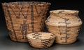 American Indian Art:Baskets, THREE PIMA COILED BASKETS... (Total: 3 Items)