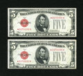 Small Size:Legal Tender Notes, Fr. 1527* $5 1928B Legal Tender Star Notes. Two Consecutive Examples Very Fine-Extremely Fine.. ... (Total: 2 notes)