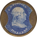 Encased Postage: , HB-50 EP-6 Scott-26a Reed-BA01F/G 1¢ Joseph L. Bates Fancy Goods Extremely Fine.. Numerical grade: 60case.70stamp.65mica. = 19...