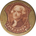 Encased Postage: , HB-54 EP-65 Scott-28a Reed-BA05F/G 5¢ Joseph L. Bates Fancy Goods Extremely Fine.. Numerical grade: 75case.80stamp.80mica. = 2...
