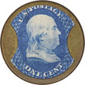 Encased Postage: , HB-182 EP-22 Scott-134 Reed-MI01 1¢ B. F. Miles Choice About New..Numerical grade: 85case.90stamp.80mica. = 255...