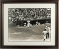Autographs:Photos, Joe DiMaggio Signed Photograph Framed and Matted. Classic black andwhite large photograph featuring Joe DiMaggio emerging ...